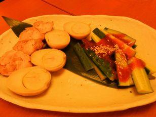 9 ○金+キュウリ、燻製たまご、蒸し鶏