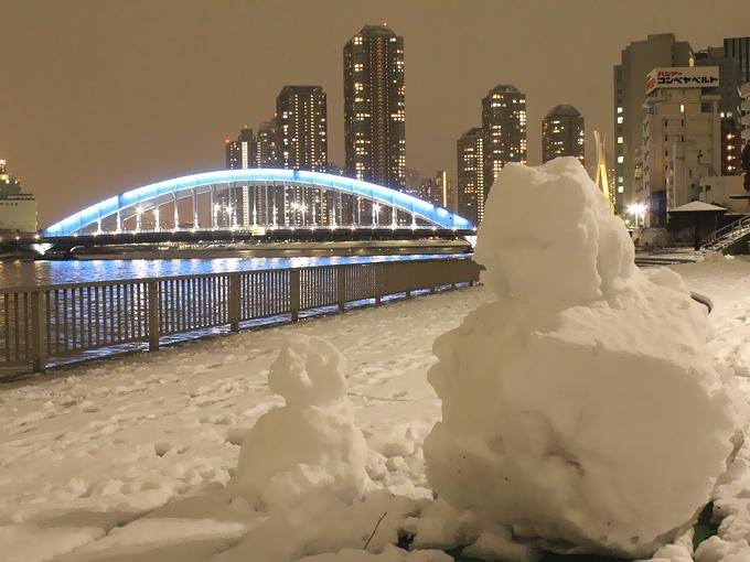 東京で見た雪だるま