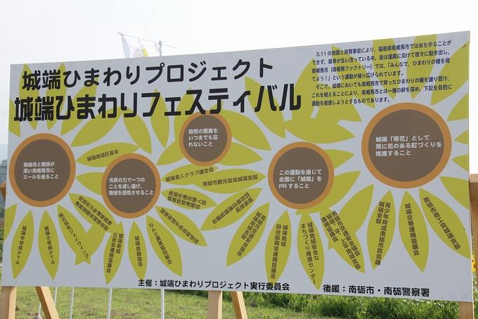 「ひまわりプロジェクト」の看板 桜ヶ池クアガーデン