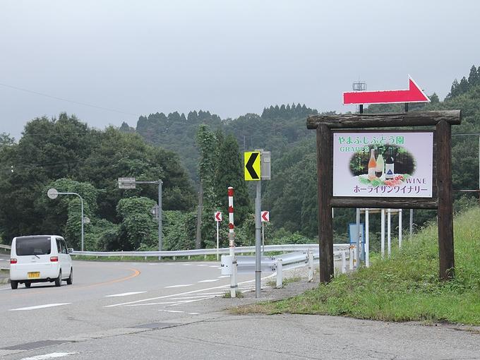 やまふじぶどう園の看板 国道359号