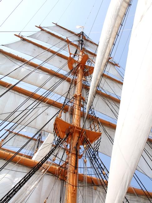 海王丸の帆を見上げる