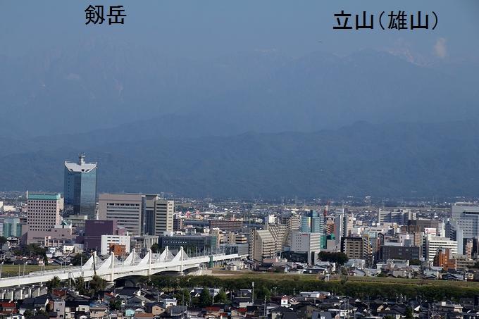 呉羽山展望台から見た剱・立山