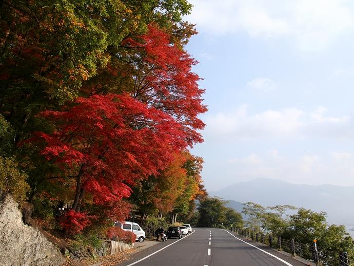 モミジと富士山の撮影スポットの様子 河口湖北岸