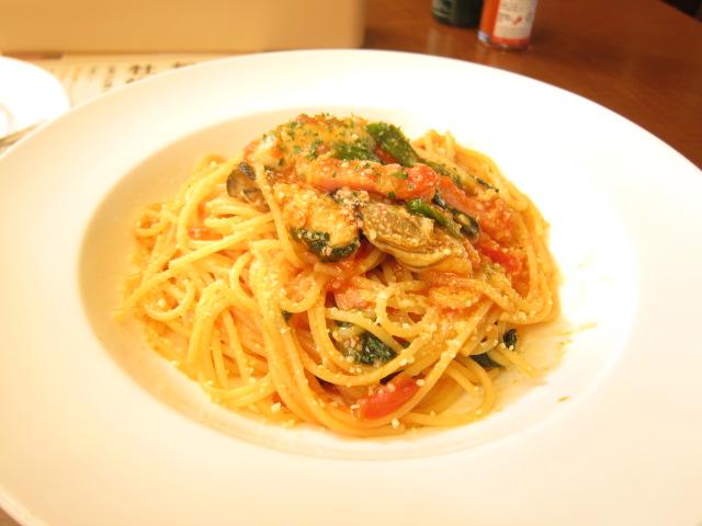 牡蠣のトマトソーススパゲティー