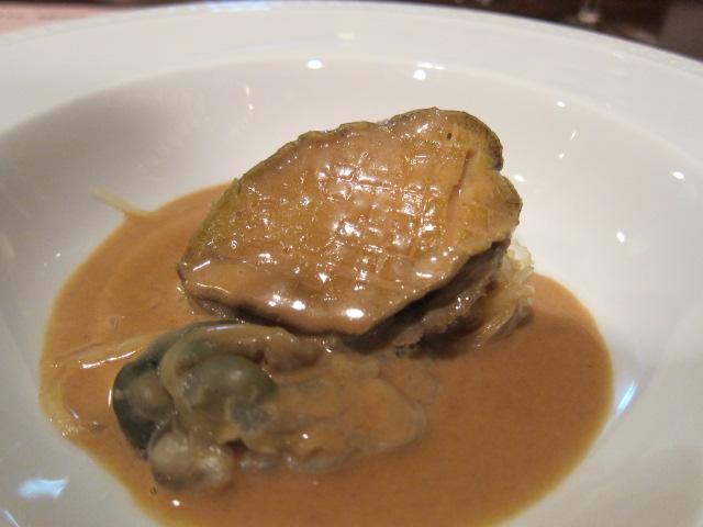 愛媛県産 鮑のバプール 明石の川津海老のソース