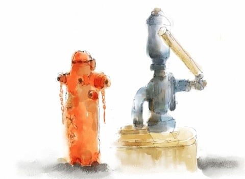 手押し井戸と消火線(明治村から)