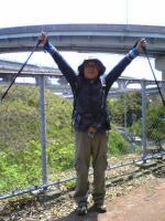 与島ループ橋前でバンザイ1