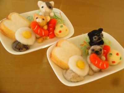 ワンプレート 朝食 猫&パグ ①-1