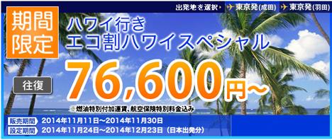ハワイ往復燃油込みで77,600円!ANAのハワイ行きエコ割スーパースペシャルなので、マイルもたまります!