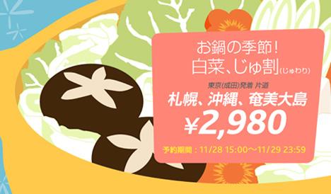 国内線が2,980円!バニラエアはわくわくバニラ「お鍋の季節!白菜、じゅ割」を販売!