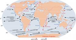 世界の主な海流(暖流は赤、寒流は青) border=