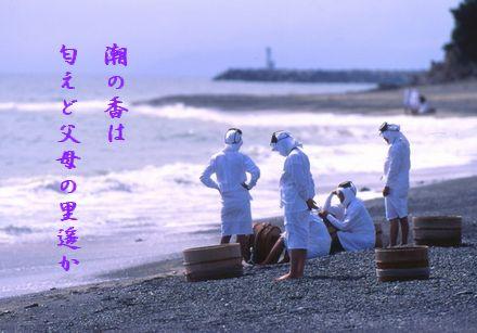 あまさん浜辺で休む海女父母の里