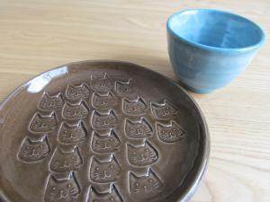 猫皿、湯のみ