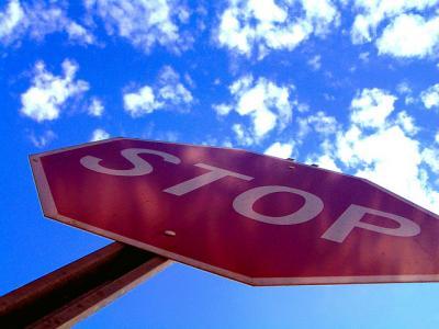 stop 看板 文字 標識 見上げる 空