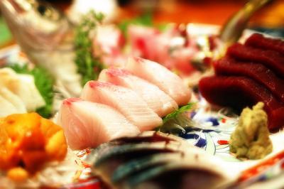 ワサビ アジ お作り 刺身 食べもの 皿