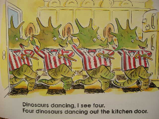 dinosaurs dancing i see four