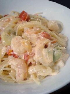 060607 海老と空豆のトマトクリームパスタ