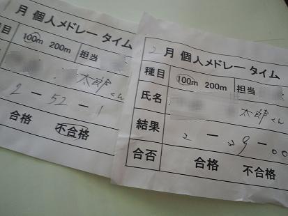 スイミングのタイム表