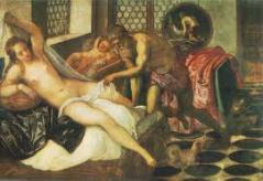 ティントレット ウルカヌスに見つかったヴィーナスとマルス