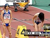 女子陸上決勝でパンツが下がりすぎて陰◯が映ってしまう放送事故wwwwww