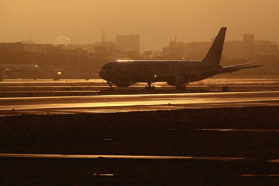 JAL B767-346 / JAL101 (JA8988)@RWY14Rエンド・猪名川土手