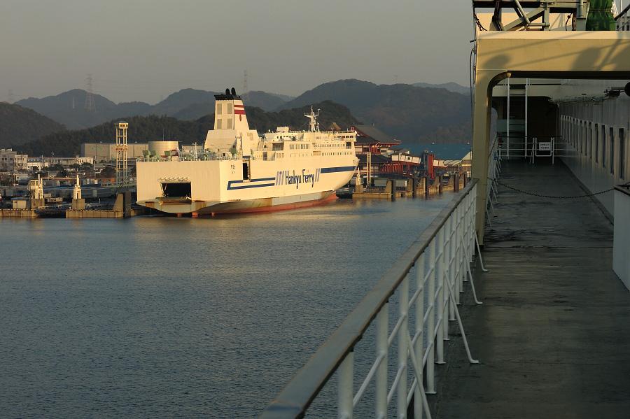 新門司フェリーターミナル入港前@フェリーせっつ甲板にて