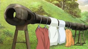 物干し竿代わりの砲身が