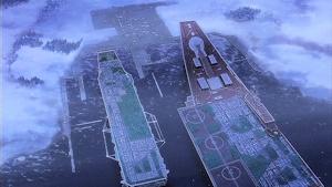 プラウダの学園艦。キエフ級のデザインながら超巨大