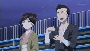 観戦する華ママンと新三郎
