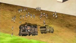 ぼろぼろになったⅣ号戦車に駆け寄る面々