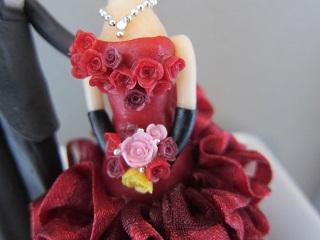 ウェディング人形ワインレッド3