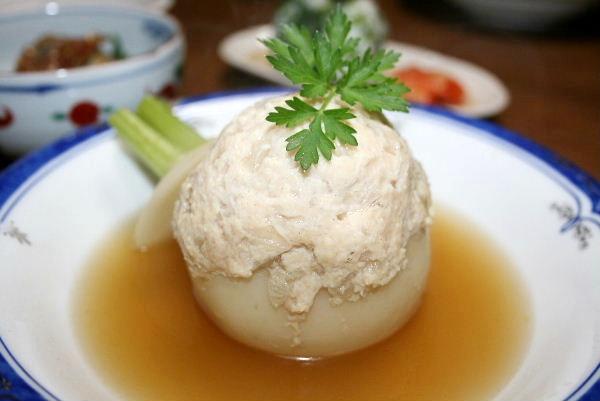 かぶの鶏ミンチ詰めスープ仕立て
