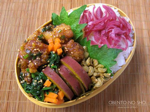鶏の甘酢ネギソース弁当01