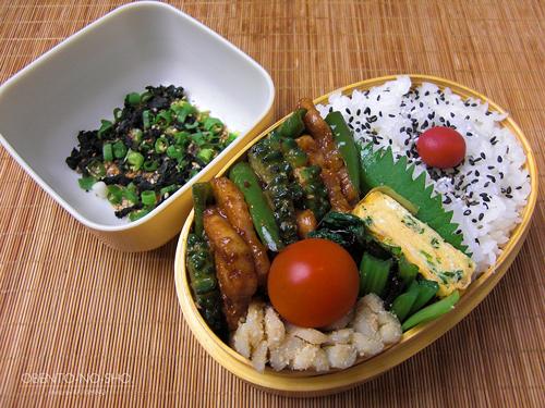 ゴーヤと青唐辛子の味噌炒め弁当01