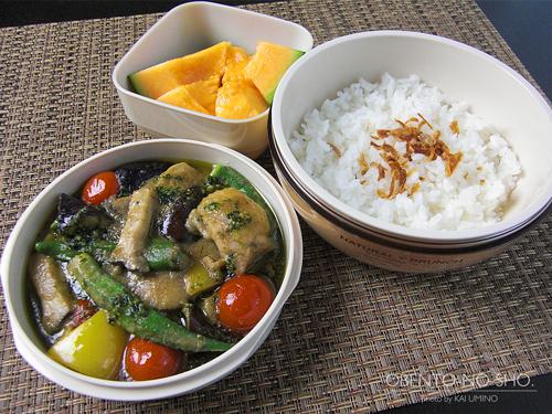 夏野菜のグリーンカレー弁当01
