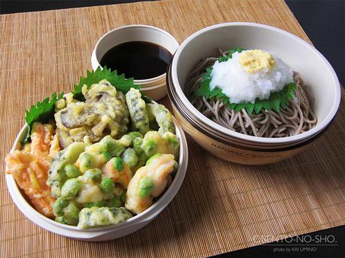 枝豆と海老のかき揚げおろし蕎麦弁当01
