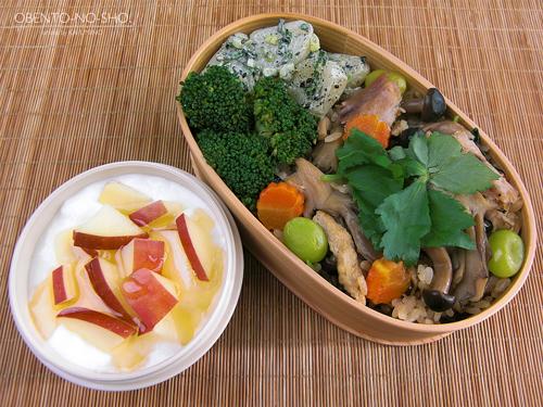 焼き秋刀魚と茸の炊き込みご飯弁当01