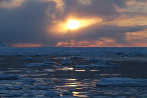 夕日と流氷