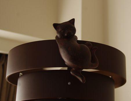 ライトにしがみつき猫