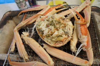 カニ甲羅味噌焼きと焼きガニ