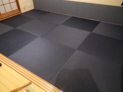 2012年10月 大沢畳店 へりなし畳をカラー畳(清流新色藍紺)へ表替え