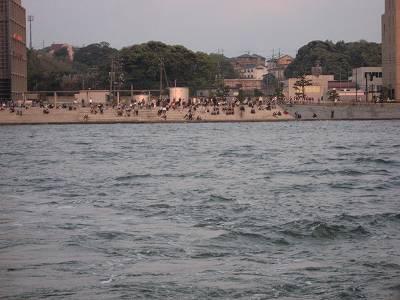 船上から見た宍道湖夕日スポット
