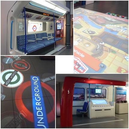地下鉄の座席&ゲーム&床の映像