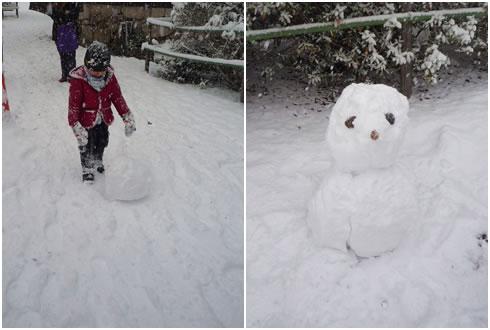 雪だるまを作る息子