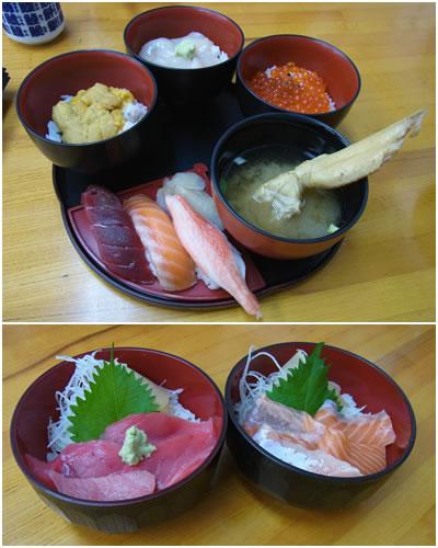 北海五膳、サーモン丼、中トロ丼