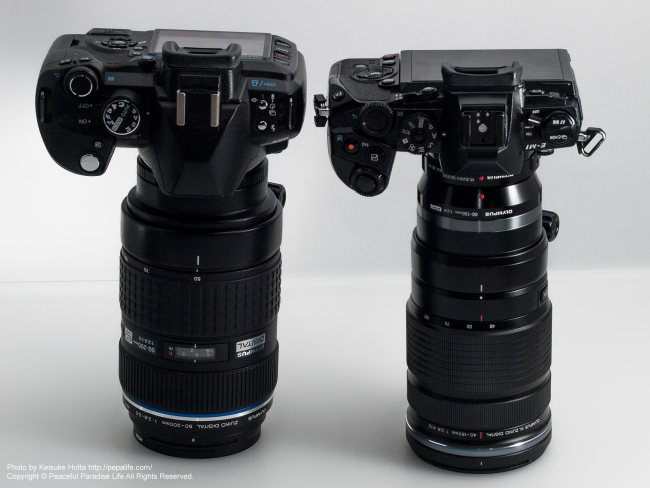 ED 50-200mm F2.8-3.5 SWDとED 40-150mm F2.8 PRO+MC-14を比較