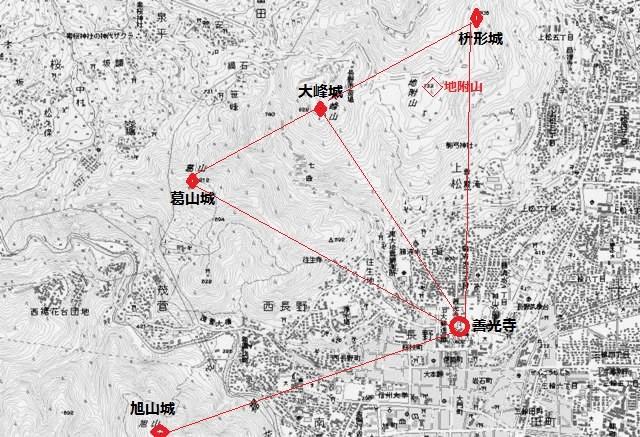 大峰城周辺の地図