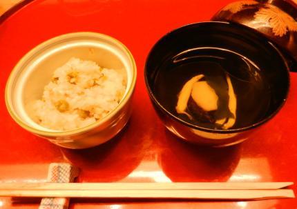 白魚すまし、豆ごはん