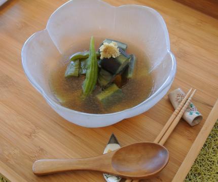 素揚げ野菜をお素麺汁に