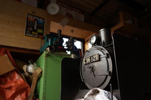 ヒノモトロータリーベースにて整備を受けるC56129